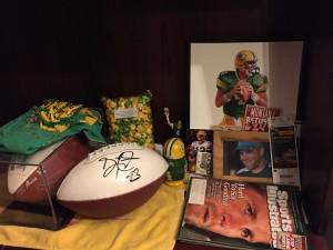 The football shrine in my bedroom